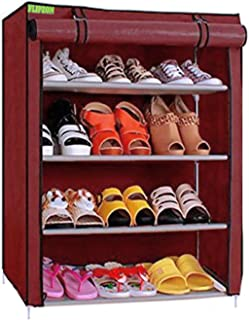 FLIPZON Premium 4-Tiers Shoe Rack/Multipurpose Storage Rack with Dustproof Cover (Iron and Fabric) (Maroon), Iron Pipes, N...