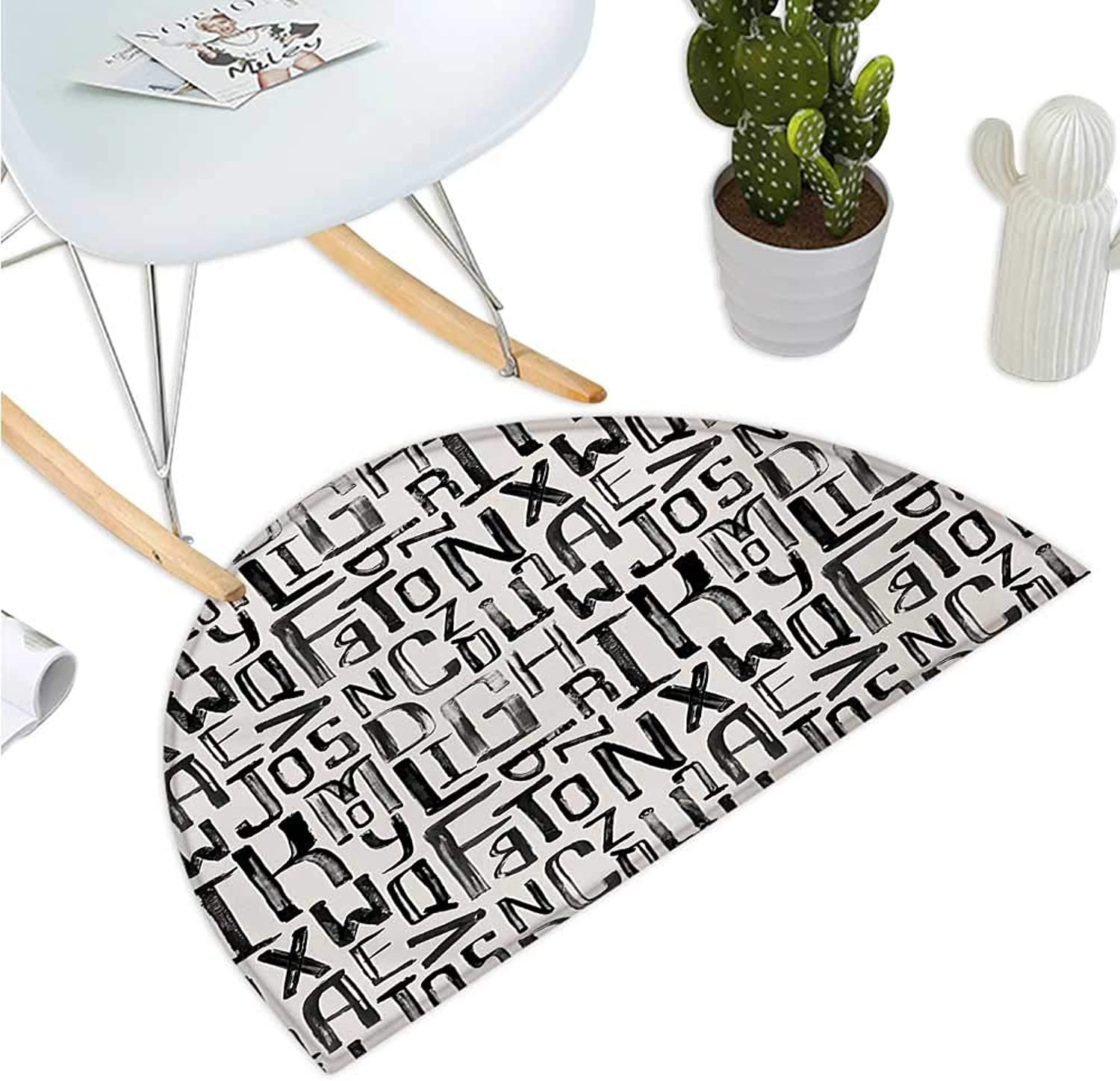 Grunge Semicircular Cushion Artsy Small Large Grunge Letters in Random Sizes Pattern Alphabet Modern Entry Door Mat H 43.3  xD 64.9  Charcoal Grey White