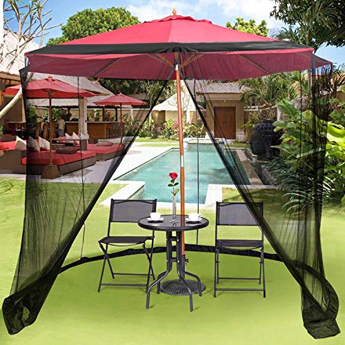 OUTDOOR WIND Outdoor 9FT Patio Umbrella Table Cover Mosquito Polyester Netting Screen,Black