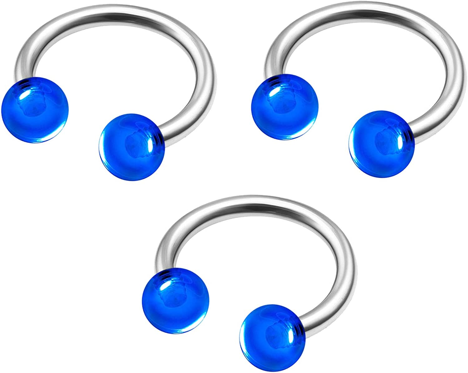 MATIGA 3Pcs Steel 16g 5/16 8mm Horseshoe Earring Piercing Jewelry Septum Nose Helix Tragus Cartilage 3mm Acrylic Ball More Choices