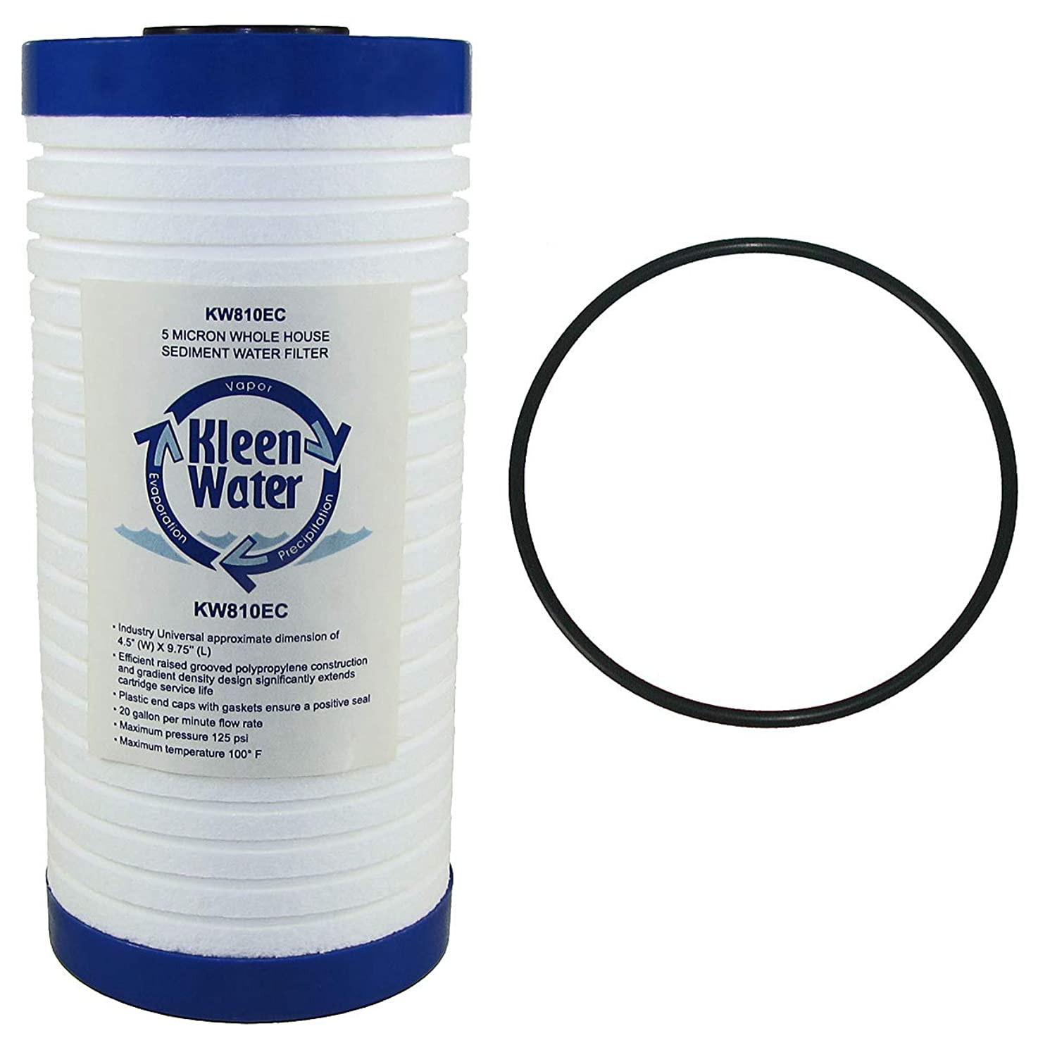 AP810, AP801 - Aqua-Pure - Compatible Water Filter Replacement Cartridge - 4 1/2 X 9 7/8 Inch - 5 Micron - by KleenWater with AP801 Oring