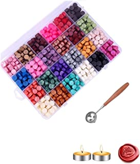 600PCS Sealing Wax Beads Packed in Plastic Box, with 2PCS Tea Candles and 1 PC Wax Melting Spoon for Wax Sealing Stamp (24...