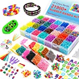 Inscraft 21,900+ Rainbow Rubber Bands Kit, 20,000 Loom Bands in 41 Colors, 1000 S-Clips, 6 Y Looms, 280 Beads, 52 ABC Beads, 50 Charms, 10 Backpack Hooks, Tassels, Crochet Hooks and ABC Stickers