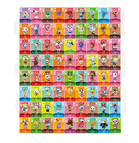 NFC Tag Game Cards for Animal Crossing New Horizons Game Rare Villager Amiibo Cards of the Wild Switch/Wii U - 72 PCS Mini Amiibo Cards with Crystal Case 1.25*0.85*0.05 inches -  COOLKID