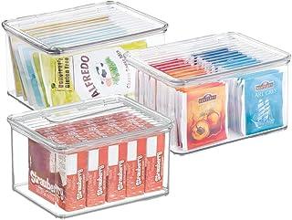mDesign Pojemniki do układania w stos – przezroczyste pudełko lub pudełko do przechowywania z pokrywką – do całego gospoda...