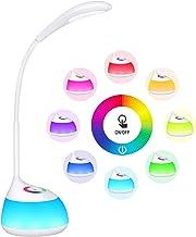 【2 en 1】 TOPELEK Lampe de Bureau 16 LED Veilleuse Enfant Tactile RGB 256 Couleurs Réglables, Cou Flexible, 3 Niveaux de Luminosité, Lampe de Chevet et Cadeau Enfant pour Chambre de Bébé, Atmosphère