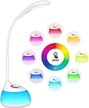 【2 en 1】 TOPELEK Lámpara de Escritorio, 16 LED de luz Mesa Nocturna Niño Touch RGB 256 Colores Ajustable, Cuello Flexible, 3 Niveles de Brillo, lámpara de cabecera y Regalo(Nuevo Blanco)