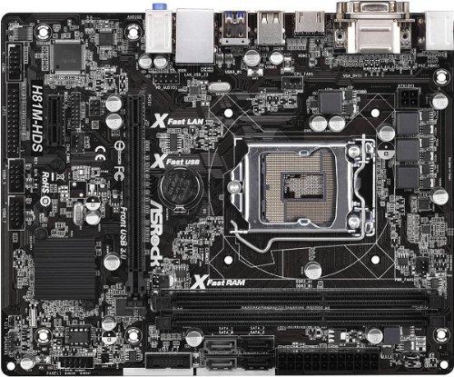 Asrock H81M-HDS Mainboard Sockel LGA 1150 (Micro-ATX, Intel H81, 2X DDR3 Speicher, HDMI, DVI-D, 2X SATA III, 4X USB 3.0)