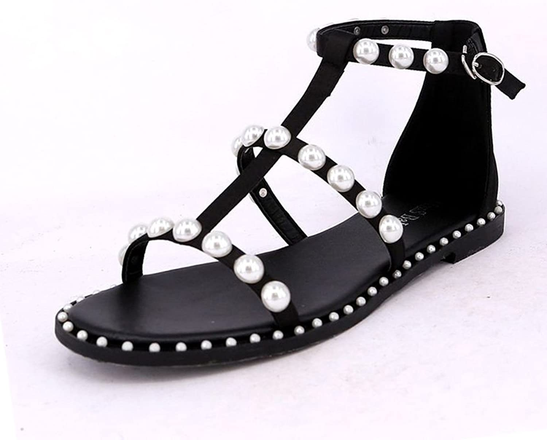 Sandalen Retro Schuhe Sommer flache Schuhe Perle Casual Casual Casual schwarz stilvoll (größe   EU39 UK6 CN39)  6ee0c3