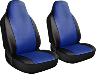 Motorup America Auto Seat Cover Set - Integrated Bucket Seat - Fits Select Vehicles Car Truck Van SUV - Newly Designed - Blue & Black