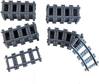 Railroad Train Tracks 18 straight + 6 curved tracks Non-Powered Rail Compatible all Major Brands Train Track City Railroad Construction Toy