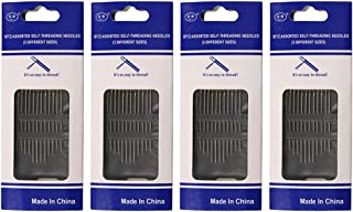 Flrhsjx Packs of 3 Size Self Threading Needles Hand Sewing Needle for Embroidery,Sewing Mending