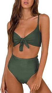 IQQI Women Bikini Set High Waist Flounce Swimsuit Halter Ladies Swimming Costume Beach Bathing Swimwear