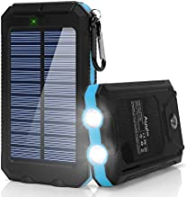 Ayyie Solar Charger,10000mAh Solar Power Bank Portable External Backup Battery Pack Dual USB Solar Phone Charger with 2LED Light Carabiner and Compass for Your Smartphones (Dark Blue)