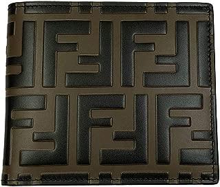 FF Embossed Logos Men's Beige Leather Bi-fold Wallet 7M0169 A5TL