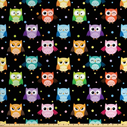 Ambesonne Owls Fabric by The Yard, Colorful Birds with Different Expressions Funny Confused Serious Characters Dots, Decorative Fabric for Upholstery and Home Accents, 1 Yard, Black