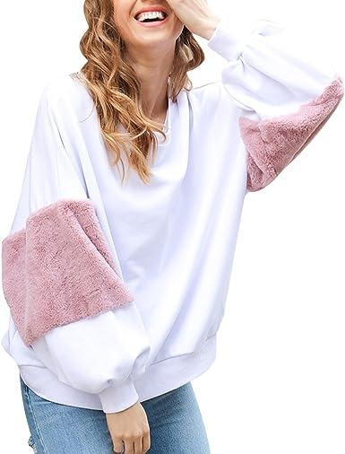 Sudaderas Mujer Sudadera Estampadas Camisetas Manga Larga Sudaderas Oversize sin Capucha Deportivas Chica Jerseys Pullover Cuello Redondo Top ...