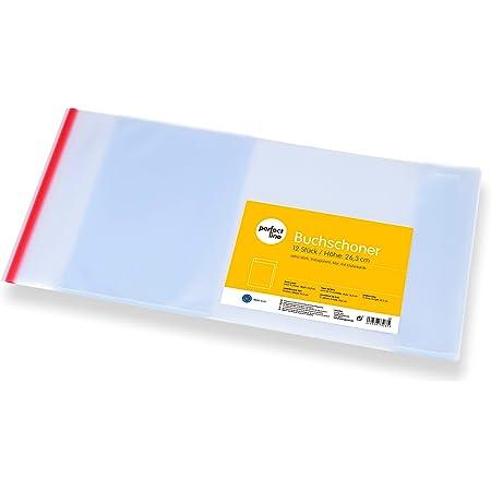perfect line Couvre-livres 12x 26,3x54cm, protège-cahiers transparents, cristal et ultra-résistants (145microns), rabat avec bord adhésif et couverture, idéal pour l'école, protection pour livres