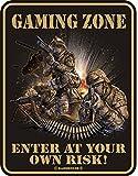 RAHMENLOS Original Blechschild Gaming Zone, Enter at Your own Risk Nr.3456