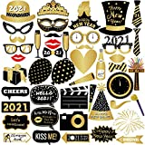 New Years Photo Booth Props 2021 – Pack of 43 | New Years Eve Party Supplies 2021 | 2021 Photo Props for NYE Decorations | Happy New Year Decorations 2021 | New Years Eve Photo Booth Props 2021