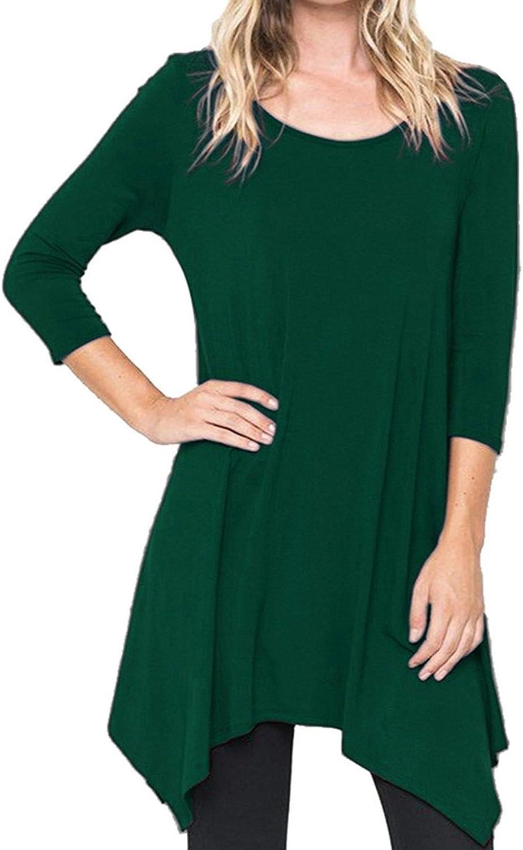 Fanfly Women's 3 4 Sleeve Swing Tunic Top Loose Fit Flowy Shirt