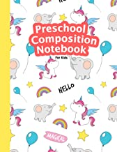 Preschool Composition Notebook: Cute Magical Unicorn, Rainbow and Elephant Pattern Background, My First Draw and Write Jou...