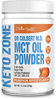 Dr.Colbert's Keto Zone MCT Oil Powder (Pumpkin Spice Flavor) (300 Grams) (30 Day Supply) - Recommended in Dr. Colbert's Keto Zone - Alternative Coffee Creamer | 70% C8 30% C10 | 0 Net Carbs