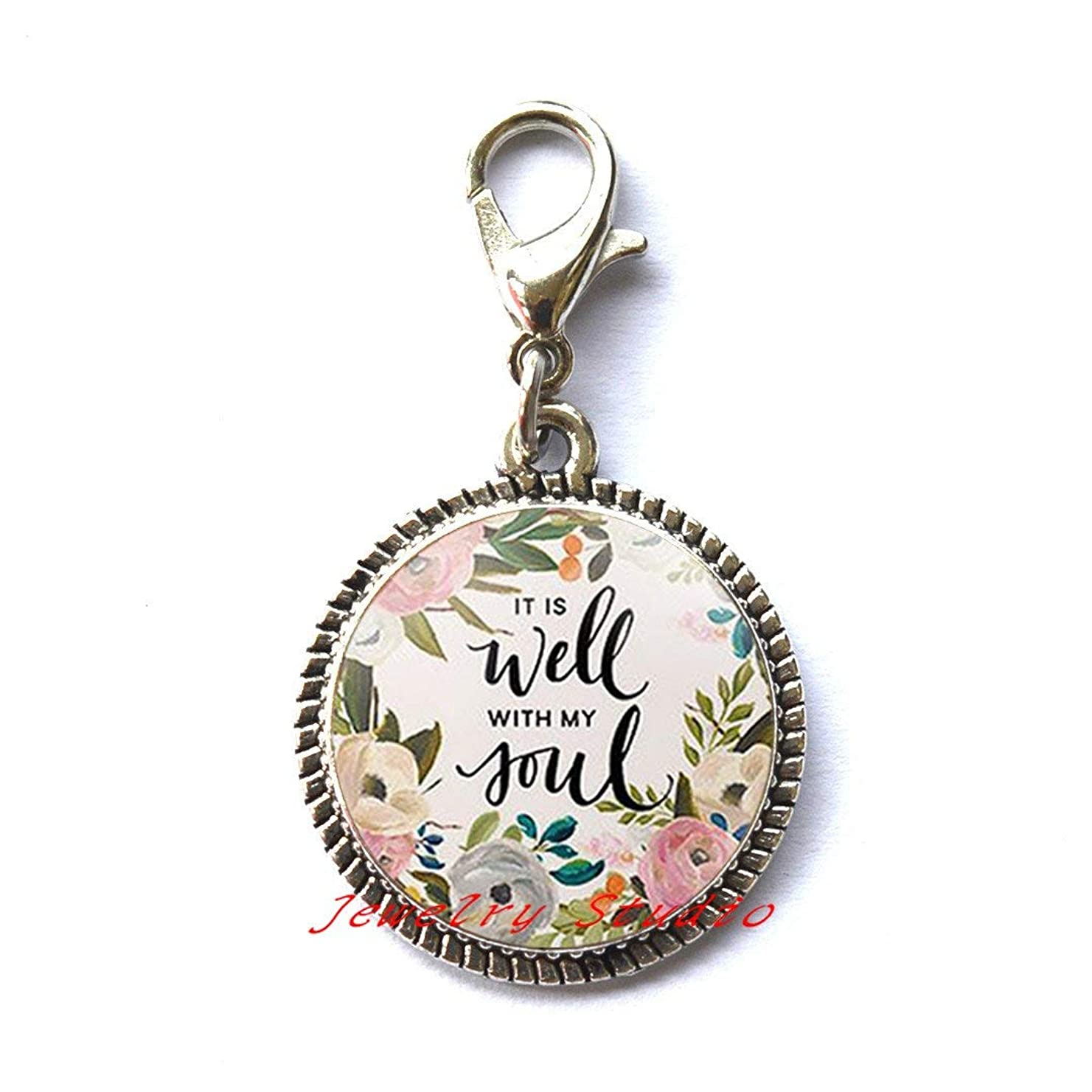 It is well with MY Soul Zipper Pull Quote Faith Inspirational Women Men Christian Jewelry Gifts,photo Charm Zipper Pull art Charm Zipper Pull photo jewelry art jewelry glass jewelry-HZ00133