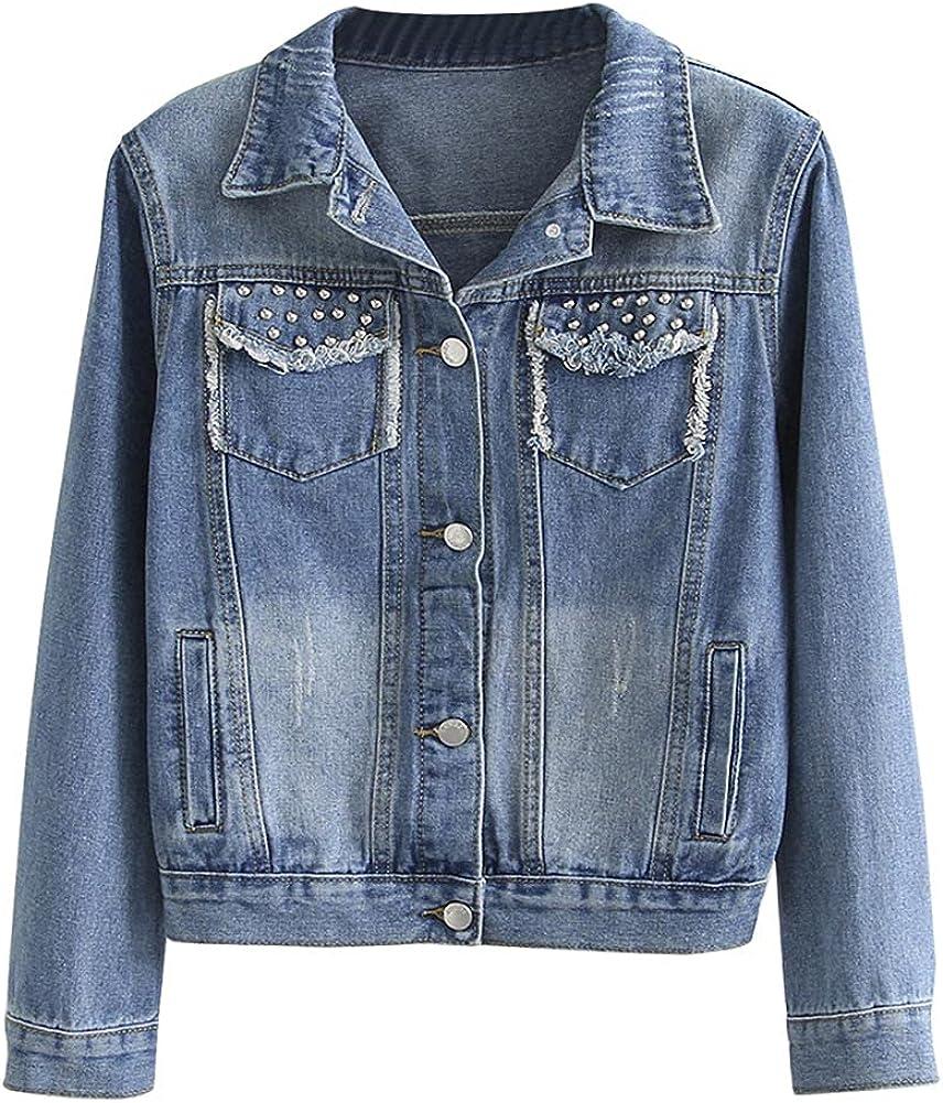 SCOFEEL Women's Distressed Jean Coat Rivet Long Sleeve Loose fit Button Down Denim Jackets