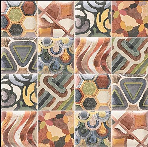 Azulejo de cerámica forma abombada, medidas 15 x 15 cada azulejo 1 metro cuadrado (44 piezas), azulejos surtidos, De gran diseño, azulejo valenciano. Material tierra roja. (TAP)