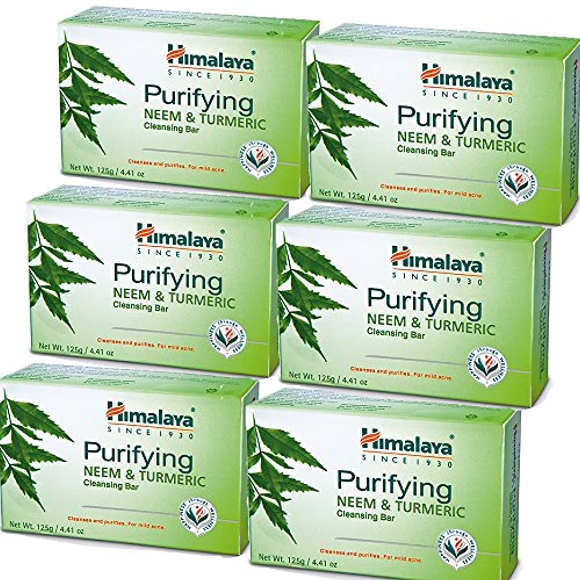 Himalaya Purifying Neem & Turmeric Cleansing Bar (6 PACK) for Clean and Healthy Looking Skin, 4.41 Oz/125 gm