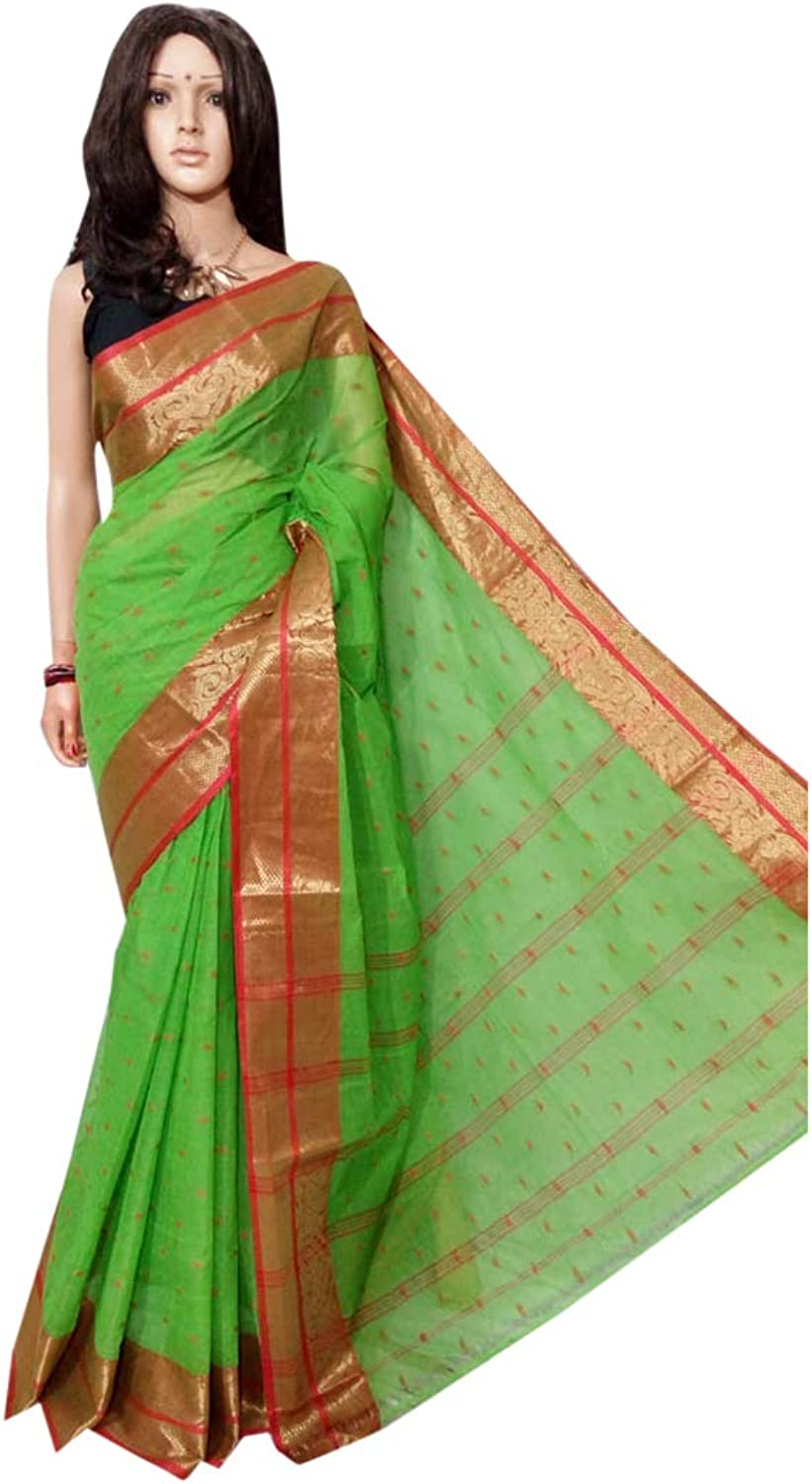 Green Indian Ethnic Pure Cotton tant Sari small print work Beautiful Border work Women saree Festive offer 102A