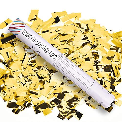 Schramm® 12 Stück Konfetti Shooter Gold 40cm Konfetti Popper Kanone Kanonen Party Sylvester Geburtstag Hochzeit kein Feuerwerkskörper
