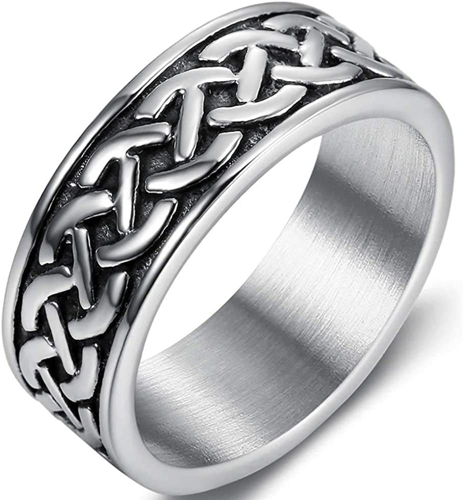 8mm Stainless Steel Vintage Style Celtic Knot Wave Wedding Band Ring