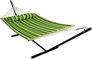 Sunnydaze 2 Person Double Hammock with 12 Foot Portable Steel Stand & Spreader Bar, Quilted Fabric Bed, Melon Stripe