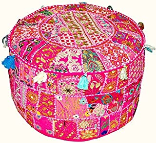 Indian Vintage Patchwork Ottoman Pouf , Indian Living Room Pouf, Foot Stool, Round Ottoman Cover Pouf, Floor Pillow Ottoman Poof,Traditional Indian Home Decor Cotton Cushion Ottoman Cover 13x18''