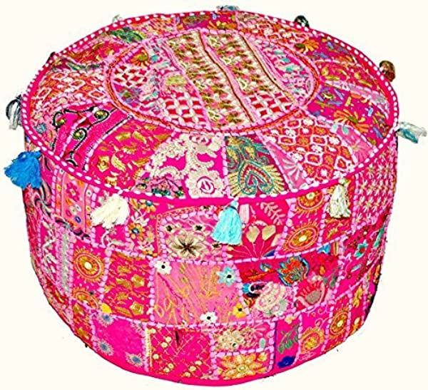 Indian Vintage Patchwork Ottoman Pouf Indian Living Room Pouf Foot Stool Round Ottoman Cover Pouf Floor Pillow Ottoman Poof Traditional Indian Home Decor Cotton Cushion Ottoman Cover 13x18