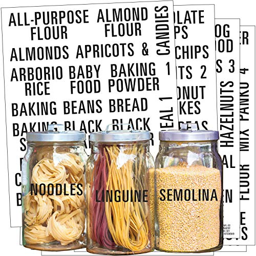 Talented Kitchen 224 Pantry Labels & Fridge – Bold All Caps Kitchen Pantry Names & Fridge – Food Label Sticker, Water Resistant Pantry Labels for Containers, Jar Labels Pantry Organization and Storage