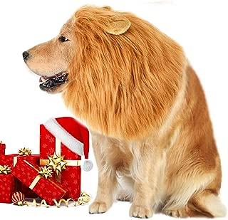 VIVREAL Lion Mane Costume for Dog - Lion Dog Costume Funny Adjustable Lion Wig Easy to Fit Medium to Large Sized Dog for Halloween Christmas Party with Ears,Large Dog Costume for Pet as Lion King