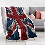 UK Flag Patriotic Sherpa Throw United Kingdom Blanket, Super Cozy Fleece Plush Bed Throw TV Blankets Reversible for Bed or Couch 50' x 70'