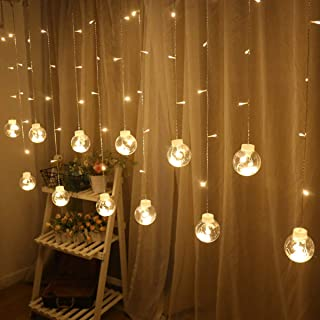 Uonlytech Curtain Wish Ball String Lights,Home Decorative Fairy Lights,Glass Hanging Party Lights for Wedding Christmas Pa...