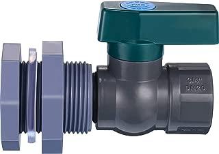 Mudder Rain Barrel Garden Spigot Kit 3/4 Inch PVC Ball Valve with Bulkhead Fitting Adapter for Water Tanks, Aquariums, Tubs, Pools