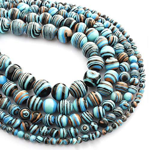 Febelle Perline sfuse di malachite blu naturale per gioielli fai da te e artigianato, 8mm