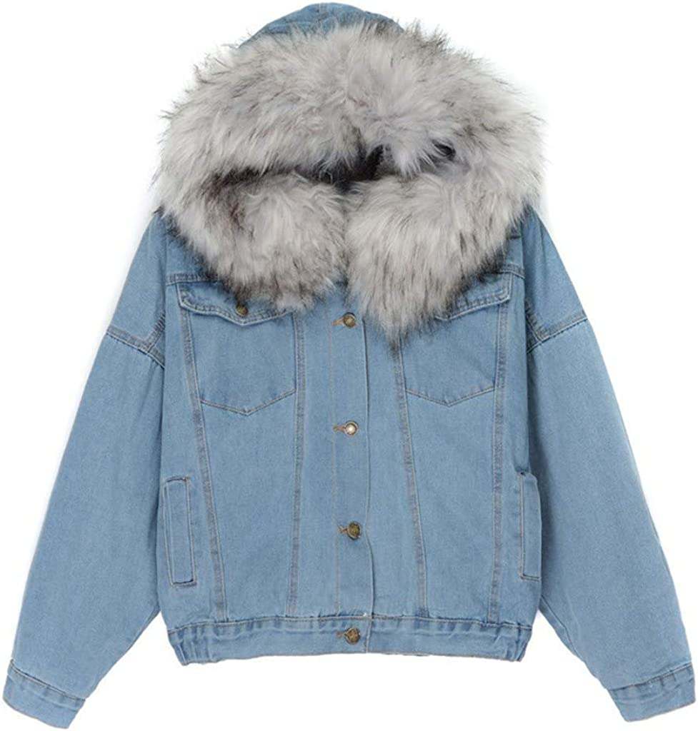 Forwelly Women Denim Hoodies Overcoat Fashion Solid Long Sleeve Plush Hooded Crop Jacket Button Coat with Pocket