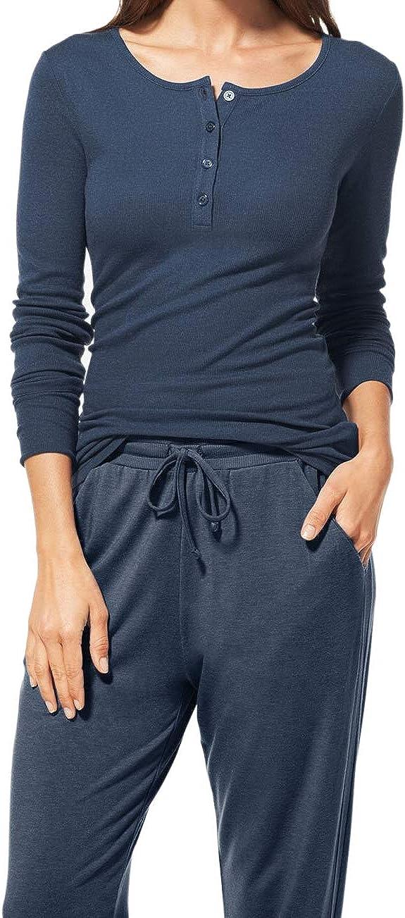 Tommy John Women's Lounge Henley - Long Sleeve Pajama Sleep Shirt
