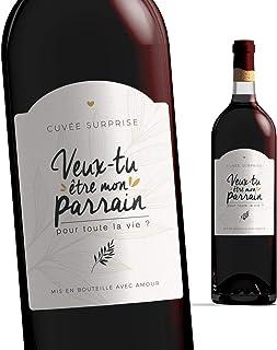 Manahia Etiquette Bouteille Parrain | Veux-tu être Mon Parrain ? | Etiquette vin Demande Parrain | Annonce Naissance - Fut...