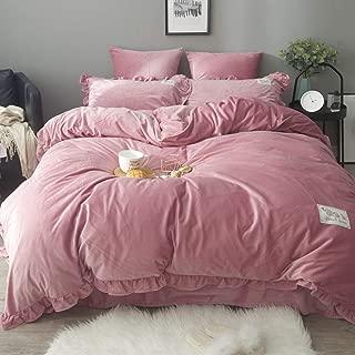 3 PCS Velvet Flannel Duvet Cover Set with Cute Elephant Label Full Comforter Cover with 2 Pillow Shams Pure Color Heavyweight Warm Duvet Cover Set -1 Duvet Cover +2 Piilow Shams for Winter,King Size