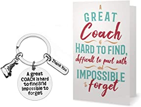 Sportybella Figure Skating Coach Keychain & Card Gift Set, Ice Skate Coach Gifts, Great Coach is Hard to Find But Impossible to Forget Keychain for Men and Women