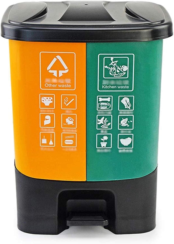 presentando toda la última moda de la calle Cubo de basura de basura basura basura doble, cubo de basura de plástico, sala de estar de cocina con tapa Pedal-Type 20L, botes de basura para exteriores, compartimiento para el paso, con compartimientos dobles  connotación de lujo discreta