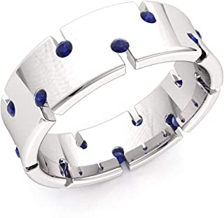 Diamondere Natural and Certified Blue Sapphire Wedding Band Ring in 10k White Gold | 0.52 Carat Ring for Men, US Size 9.25